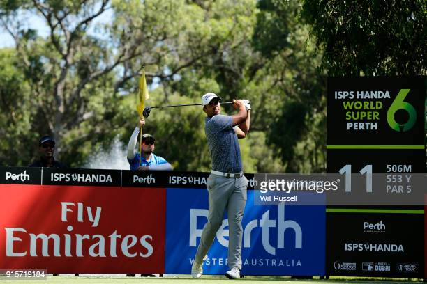 Dimitrios Papadatos of Australia plays a tee shot on the 11th hole during day one of the World Super 6 at Lake Karrinyup Country Club on February 8...
