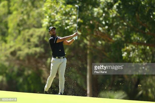 Dimitrios Papadatos of Australia plays his second shot on the 6th hole during round one of the ISPS HANDA World Super 6 at Lake Karrinyup Country...