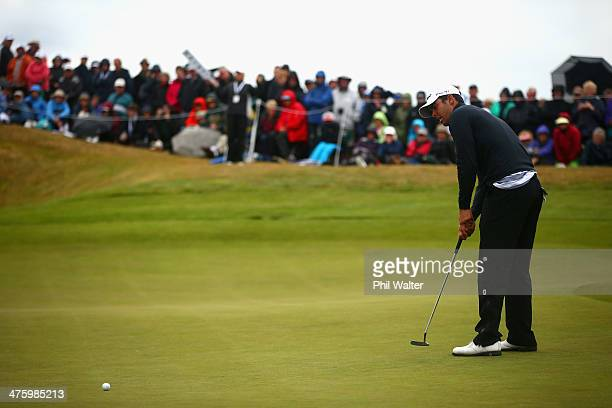 Dimitrios Papadatos of Australia putts on the 18 hole during the New Zealand Open at The Hills Golf Club on March 2 2014 in Queenstown New Zealand