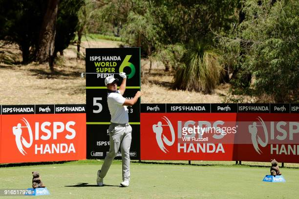 Dimitrios Papadatos of Australia takes his tee shot on the 5th hole during day three of the World Super 6 at Lake Karrinyup Country Club on February...