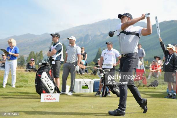 Dimitrios Papadatos of Australia tees off during day three of the New Zealand Open at Millbrook Resort on March 11 2017 in Queenstown New Zealand