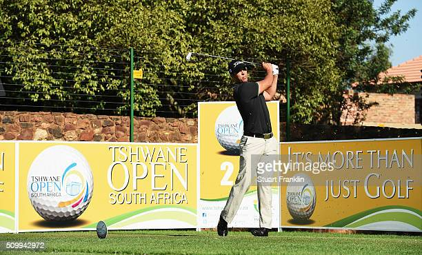 Dimitrios Papadatos of Austrlia plays a shot during the third round of the Tshwane Open at Pretoria Country Club on February 13 2016 in Pretoria...
