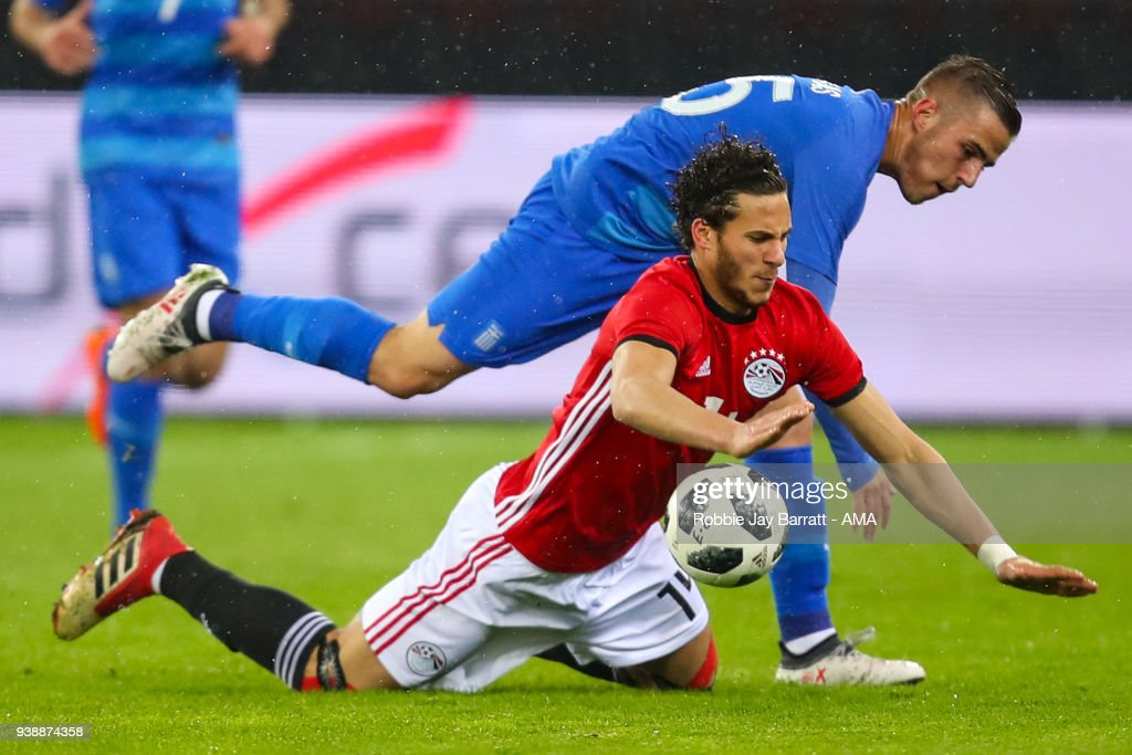 Dimitrios Pelkas of Greece and Ramadan Sobhi of Egypt during the International Friendly match between Egypt and Greece at Stadion Letzigrund at Letzigrund on March 27, 2018 in Zurich, Switzerland.