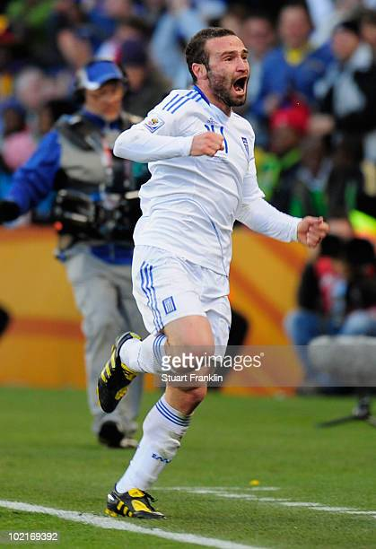 Dimitrios Salpingidis of Greece celebrates after scoring a goal during the 2010 FIFA World Cup South Africa Group B match between Greece and Nigeria...