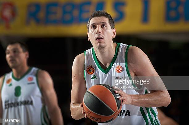 Dimitris Diamantidis #13 of Panathinaikos Athens in action during the Turkish Airlines Euroleague 20122013 Play Offs game 1 between FC Barcelona...