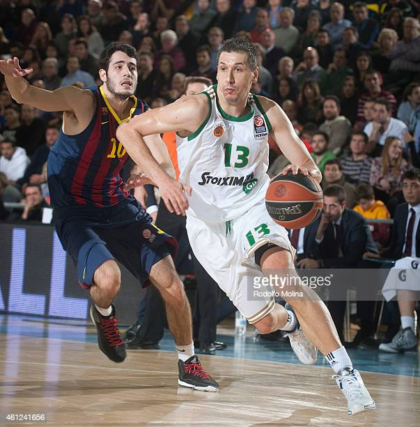 Dimitris Diamantidis, #13 of Panathinaikos Athens in action during the Euroleague Basketball Top 16 Date 2 game between FC Barcelona v Panathinaikos...