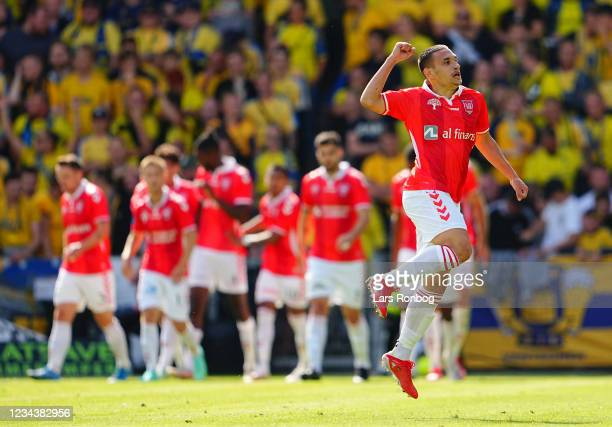 Dimitris Emmanouilidis of Vejle Boldklub Goalkeeper Thomas Mikkelsen of Brondby IF the Danish 3F Superliga match between Vejle Boldklub and Brondby...