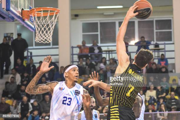 Dimitris Flionis winning a rebound for Aris BC during Championship Basket League match between GSKymis and Aris BC at Kanithou quotTKampouris' gym in...