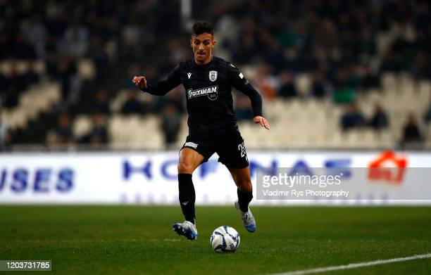 Dimitris Giannoulis of PAOK controls the ball during the Greece SuperLeague match between Panathinaikos FC and P.A.O.K. At OAKA Stadium on February...
