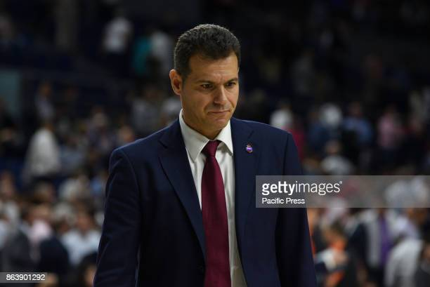 Dimitris Itoudis coach of CSKA Moscow pictured during the Euroleague basketball match between Real Madrid and CSKA Moscow at WiZink Center in Madrid...