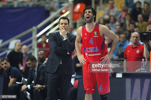 Dimitris Itoudis Head Coach of CSKA Moscow and Milos Teodosic #4 in action during the 2016/2017 Turkish Airlines EuroLeague Regular Season Round 9...
