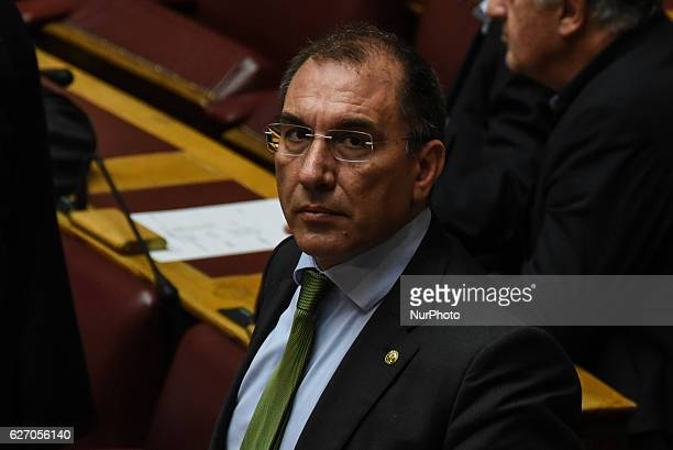 Dimitris Kammenos Independent Greeks attends the Greek Parliament discussion a draft law about equal rights for transsexual and homosexual citizen in...