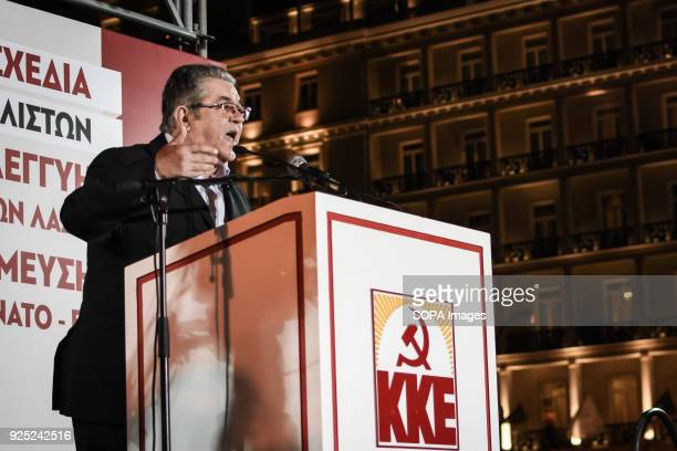 Dimitris Koutsoubas seen giving a speech on stage Demonstration at Syntagma Square in Athens as general secretary of the Communist Party of Greece...