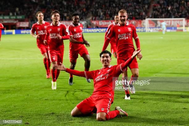 Dimitris Limnios of FC Twente celebrates after scoring his sides third goal during the Dutch Eredivisie match between FC Twente and AZ at De Grolsch...