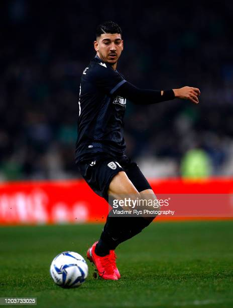 Dimitris Limnios of PAOK in action during the Greece SuperLeague match between Panathinaikos FC and P.A.O.K. At OAKA Stadium on February 02, 2020 in...