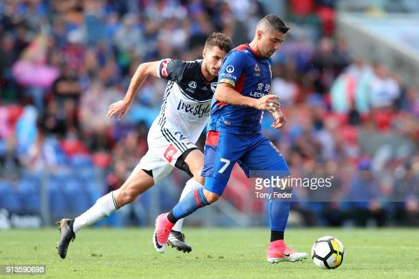 Dimitris Petratos of the Jets controls the ball during the round 19 ALeague match between the Newcastle Jets and the Melbourne Victory at McDonald...