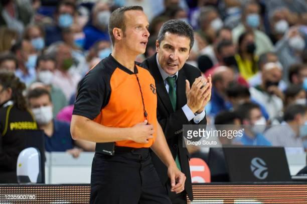 Dimitris Priftis, Head Coach of Panathinaikos Opap Athens reacts during the Turkish Airlines EuroLeague Regular Season Round 4 match between Real...