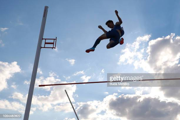 Dimitriy Kachanov of Russia fails an attempt to break a new Youth Olympic record in Men's Pole Vault during day 7 of Buenos Aires 2018 Youth Olympic...