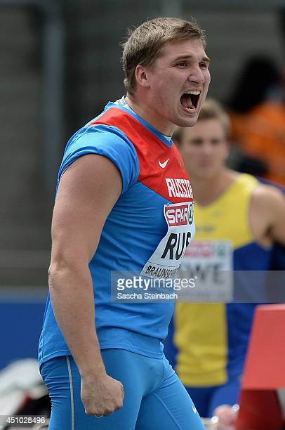 Dimitriy Tarabin of Russian celebrates during the Men's Javelin Throw during second day of the European Athletics Team Championship at Eintracht...