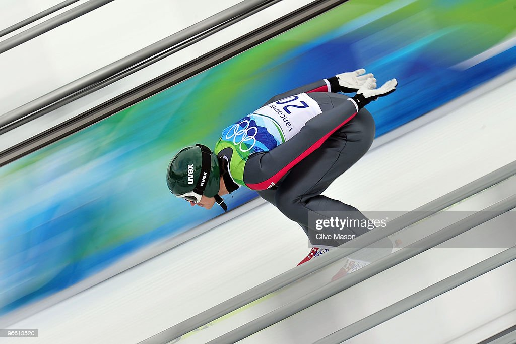 Dimitry Ipatov of Russia competes during the Ski Jumping Normal Hill Individual Trial Round of the 2010 Winter Olympics at Whistler Olympic Park Ski Jumping Stadium on February 12, 2010 in Whistler, Canada.