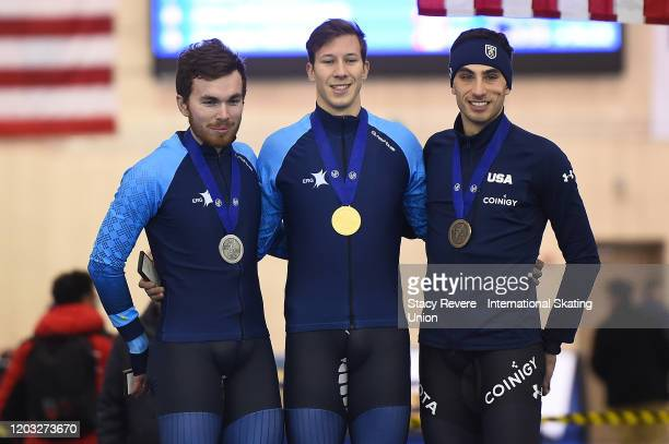 Dimitry Morozo, Vitaly Schigolev of Kazakhstan and Emery Lehman of the United States stand on the podium following the Mens 5000m during day one of...
