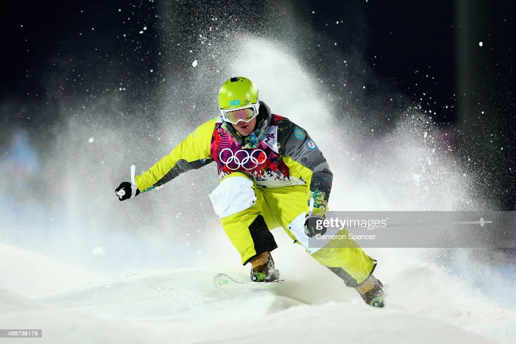 Dimitry Reiherd of Kazakhstan trains during moguls practice at the Extreme Park at Rosa Khutor Mountain ahead of the Sochi 2014 Winter Olympics on February 3, 2014 in Sochi, Russia