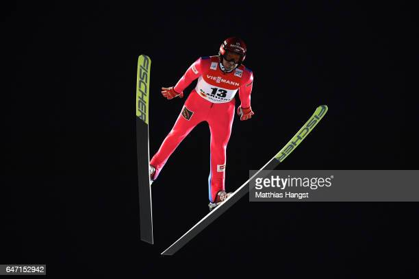 Dimitry Vassiliev of Russia competes during the Men's Ski Jumping HS130 at the FIS Nordic World Ski Championships on March 2 2017 in Lahti Finland