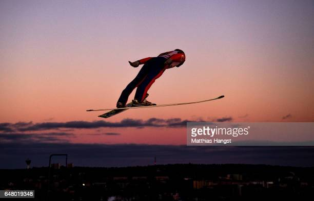 Dimitry Vassiliev of Russia competes during the Men's Team Ski Jumping HS130 at the FIS Nordic World Ski Championships on March 4 2017 in Lahti...
