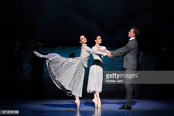 Dimity Azoury as Baroness von Rothbart Amber Scott as Odette and Adam Bull as Prince Siegfried in The Australian Ballet's production of Graeme...