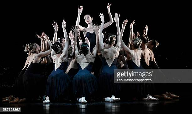 Dimity Azoury as Baroness Von Rothbart and cygnet members of The Australian Ballet company performing SWAN LAKE at the Coliseum on July 13 2016 in...