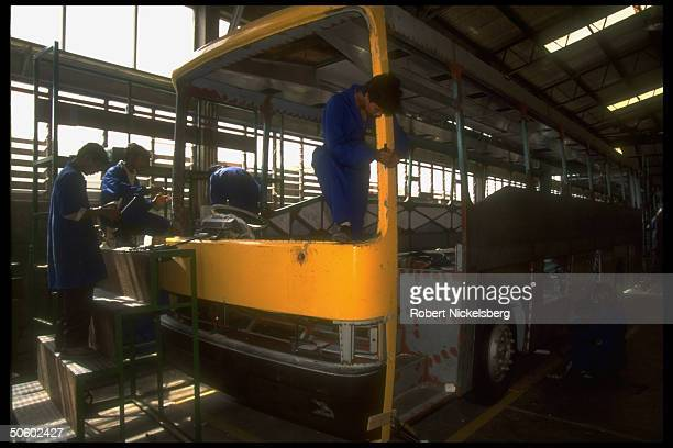 Dimo bus production at plant mfg city transport tourist busses since 1993