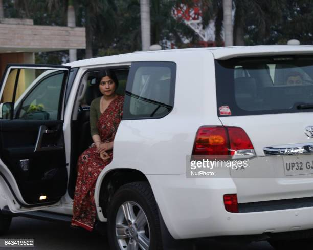 Dimple yadav member of Parliament and Wife of Uttar Pradesh Chief Minister Akhilesh Yadav sit in a car as she returns from a public rally in Lucknow...