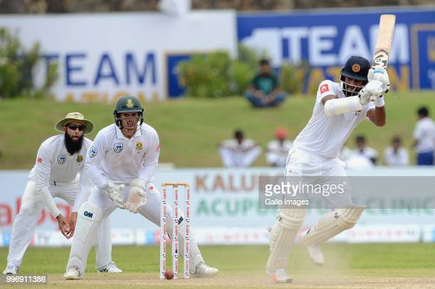 Dimuth Karunarathna Sri Lankan opener playing a shot during day 1 of the 1st Test match between Sri Lanka and South Africa at Galle International...