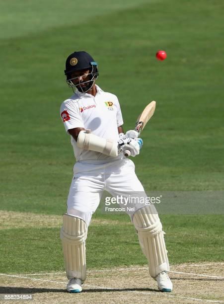 Dimuth Karunaratne of Sri Lanka bats during Day One of the Second Test between Pakistan and Sri Lanka at Dubai International Cricket Ground on...