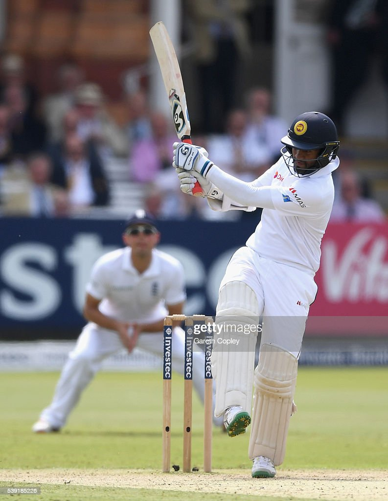 Dimuth Karunaratne of Sri Lanka bats during day two of the 3rd Investec Test match between England and Sri Lanka at Lord's Cricket Ground on June 10, 2016 in London, United Kingdom.