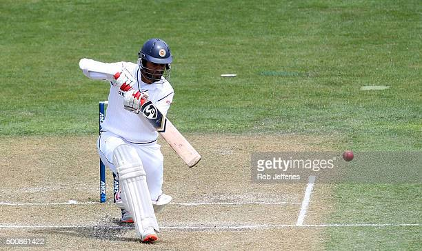 Dimuth Karunaratne of Sri Lanka bats during day two of the First Test match between New Zealand and Sri Lanka at University Oval on December 11 2015...