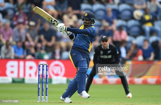 Dimuth Karunaratne of Sri Lanka bats during the Group Stage match of the ICC Cricket World Cup 2019 between New Zealand and Sri Lanka at Cardiff...