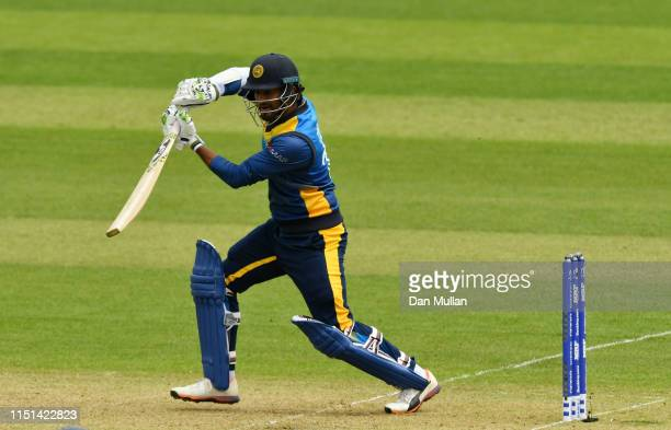 Dimuth Karunaratne of Sri Lanka bats during the ICC Cricket World Cup 2019 Warm Up match between Sri Lanka and South Africa at Cardiff Wales Stadium...