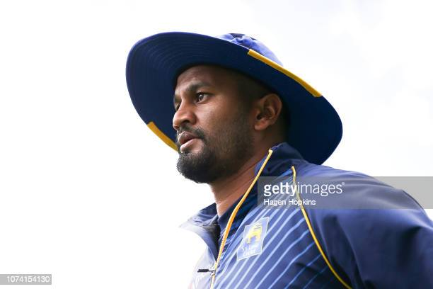 Dimuth Karunaratne of Sri Lanka looks on during day three of the First Test match in the series between New Zealand and Sri Lanka at Basin Reserve on...