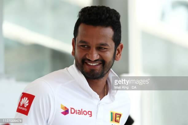 Dimuth Karunaratne of Sri Lanka looks on during day three of the Second Test match between Australia and Sri Lanka at Manuka Oval on February 03 2019...