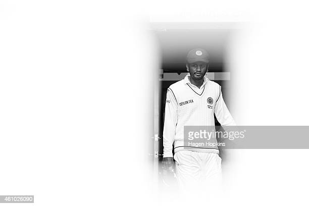 Dimuth Karunaratne of Sri Lanka takes the field during day three of the Second Test match between New Zealand and Sri Lanka at Basin Reserve on...