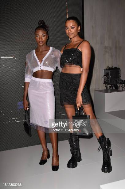 Dina Asher Smith and Simone Ashley attend the Prada Show during Milan Fashion Spring/Summer 2022 on September 24, 2021 in Milan, Italy.