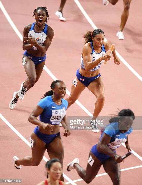 Dina Asher-Smith and Ashleigh Nelson compete in the Women's 4x100 Metres Relay during day nine of 17th IAAF World Athletics Championships Doha 2019...