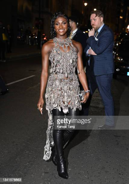 Dina Asher-Smith attends the British Vogue x Tiffany & Co. Fashion and Film party at The Londoner Hotel on September 20, 2021 in London, England.