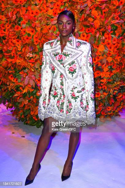 Dina Asher-Smith attends the Richard Quinn show during London Fashion Week September 2021 on September 21, 2021 in London, England.