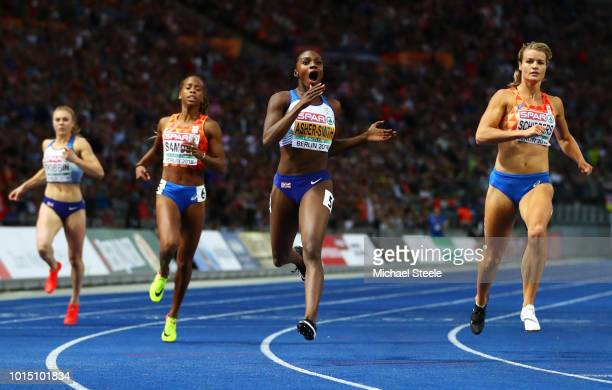 Dina AsherSmith crosses the line to win the Gold medal in the Women's 200m Final during day five of the 24th European Athletics Championships at...