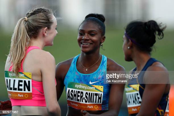 Dina AsherSmith of England reacts after winning the Women's 100 metre run during the 2018 Sydney Athletics Grand Prix at Sydney olympic Park...