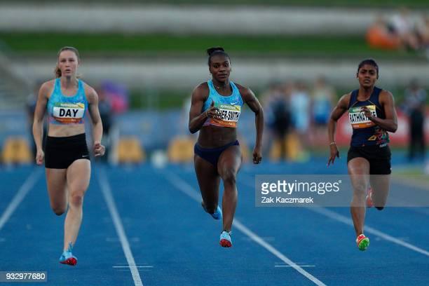 Dina AsherSmith of England wins the Women's 100 metre run during the 2018 Sydney Athletics Grand Prix at Sydney olympic Park Athletics Centre on...