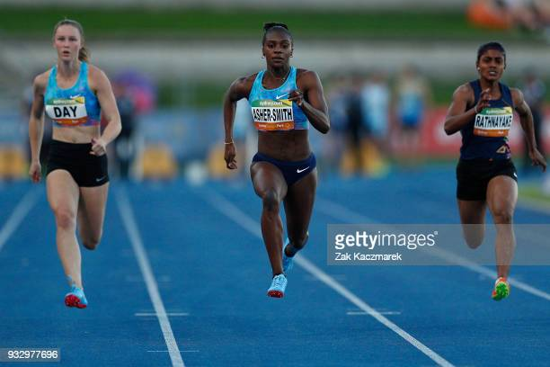 Dina Asher-Smith of England wins the Women's 100 metre run during the 2018 Sydney Athletics Grand Prix at Sydney olympic Park Athletics Centre on...