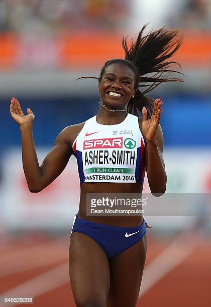 Dina AsherSmith of Great Britain celebrates after winning gold in the womens 200m on day two of The 23rd European Athletics Championships at Olympic...